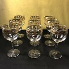 9 Vintage Culver Valencia Wine glass Gold Green Mid Century Glasses