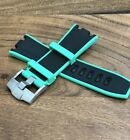 Watch Strap AP Audemars Piguet 28mm BLACK GREEN Rubber Royal Oak Offshore MENS