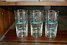Mid Century Libbey Turquoise Atomic Fish Set Of 3 Glasses 5.5
