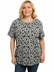 Womens Plus Size Minnie Mouse All Over T Shirt Gray