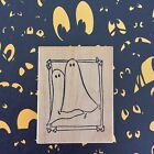 Halloween Ghost Wood Rubber Stamp Haunted House Window Scene Candy Corn Frame