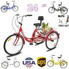 7 Speed Adult24 3 Wheel Tricycle Trike Bicycle Bike Cruise With Basket Adult US