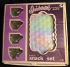 The Federal Glass Company Vintage A-8 Snack Set 4 Cups 4 Plates Original Box