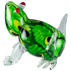 Large Hand Blown Art Glass Green Murrini Frog Figurine 525 High