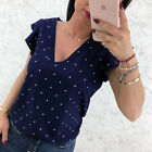 Fashion Women Sexy Deep V Neck Polka Dot Shirt Fluffy Sleeve Casual Blouse Tops