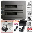16TB Dual Bay USB 30 25 35 SATA HDD SSD Hard Drive Clone Docking Station US