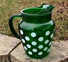 FOREST GREEN WHITE DOTS 36 OZ PITCHER WITH ICE LIP ANCHOR HOCKING-G