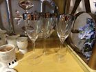 Reduced 6 DOROTHY THORPE Silver Rimmed Wine Goblets Glasses 9 1/8
