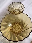 Hazel Atlas Colonial Amber Gold Swirl Glass Chip and Dip Set MCM from the 1970's