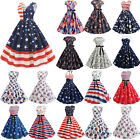 Women Independent Day American Flag Print Party Prom Rockabilly Swing Midi Dress