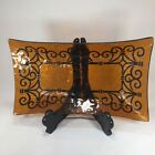 GEORGES BRIARD Mid Century Signed Gold/Amber Black Glass Dish Tray Gold Unusual