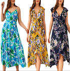 Plus Size Womens Bohe Floral Print Sleeveless V-Neck Dress Ladies Sundress