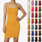 TheMogan S~3X Adjustable Strap Seamless Long Cami Bodycon Full Slip Under Dress