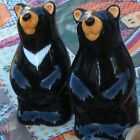 Cabin Black Bear Salt and Pepper Shakers Vintage Animal Collectible Thailand