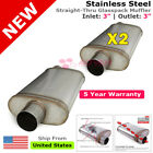 3 inch Offset In Out Stainless Steel Straight Thru Universal Mufflers 256244