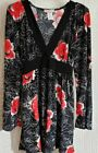 Black Red White Floral Long Sleeve Top Tie Back Casual Womens Blouse XL