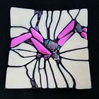 Square Dichroic Iridescent Fused Art Glass Plate Trinket Dish White Pink 6