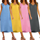 Women Sleeveless V Neck Cotton Linen Long Maxi Beach Boho Holiday Sunny Dress