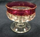Vintage Kings Crown Cranberry Ruby Red Sherbet Glass Champagne Thumbprint