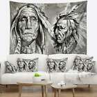 Designart Native American Indian Heads Abstract Portrait Wall Tapestry