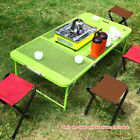 TOMSHOO Outdoor Camping Travel Picnic Desk Table+4 Chairs Combo Foldable US T7G3