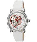 Invicta Objet D Art Women's Heart Dial White Leather Automatic Watch 22646 35mm