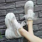 Summer Womens Lace Up Sneakers Platform Wedge High Heel Trainers Sport Shoes New
