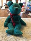 TY Beanie Baby WALLACE GREEN TEDDY BEAR W/ PLAID SCARF With Flat Tag