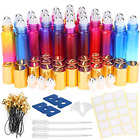 24 Pack 10ml Gradient Color Essential Oil Bottles W/Stainless Steel Roller Ball