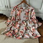 3X Plus Size Womens Tan Boho Floral Print Ruffle Sleeve Peasant Blouse Top NWT