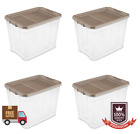 4 PACK Large Storage Sterilite 27 Gallon Tote Durable Industrial Lid Clear Base