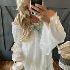S Off the Shoulder White Gauze Ruffle Boho Top Blouse Womens Size SMALL
