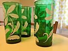 Vintage set of four emerald color tall tumblers, water glasses