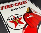 VINTAGE TEXACO FIRE CHIEF GASOLINE PORCELAIN SIGN 18