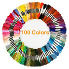 100 Skeins Embroidery Cross Stitch Threads Premium Multi-Color Handmade Craft US