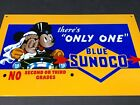 VINTAGE BLUE SUNOCO MICKEY & MINNIE MOUSE MARRIED ADVERTISING METAL PUMP SIGN