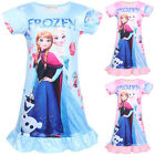 Girls Kids Frozen Elsa Anna Summer Pyjama Dress Short Sleeve Nightdress Tunic