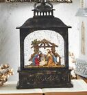 8 Inch Lighted Nativity Water Lantern In Swirling Glitter Battery Operated