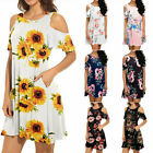 Summer Womens Boho Loose Cold Shoulder Floral Mini Dress Casual Party Sundress