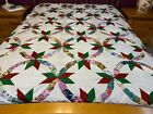 Machine pieced India Double wedding Ring patchwork Queen size quilt top J 83