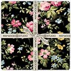 Wild Rose Black Pink Green Yellow Floral Layer Cake Quilt Fabric Pre cut Squares