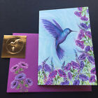 Papyrus Hummingbird Glitter ONE Small Blank Note Card embellished gold seal
