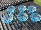 6 Vintage Blue Glass Dessert Bowls Flower Pattern Nice
