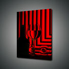RED BLACK WINE GLASSES BOTTLE KITCHEN BOX MOUNTED CANVAS PRINT WALL ART PICTURE
