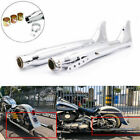 2Pcs Fishtail Drag Pipe Mufflers Exhaust For Harley Touring Motorcycle Slip On