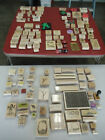 WOOD BLOCK RUBBER INK STAMPS MIXED LOT OF 136 PIECES