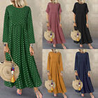 ZANZEA Women Flared Short Sleeve Summer T-Shirt Dress Polka Dot Long Maxi Dress