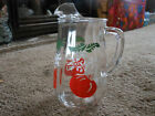 VTG PANELED CLEAR GLASS PITCHER WITH TOMATOES, 1960'S