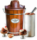 Nostalgia 6 Qt Ice Cream Maker Machine Bucket Electric Wood Wooden Old Fashioned