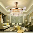Modern Crystal Invisible Ceiling Fan Light Remote Control Fan Chandelier Lamp